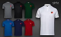 Мужская  футболка  поло Comme Des Garcons( лого красный)