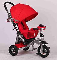 Детский трехколесный велосипед-коляска Crosser T350 надувные колеса Красный