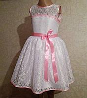 Ніжна дитяча сукня з рожевою стрічкою