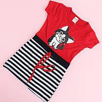 Детское платье девочке с коротким рукавом красное в полоску с пайетками размер 5-6