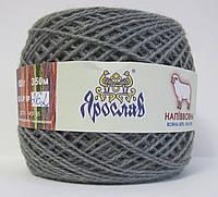 Пряжа для вязания полушерсть серого цвета 100г