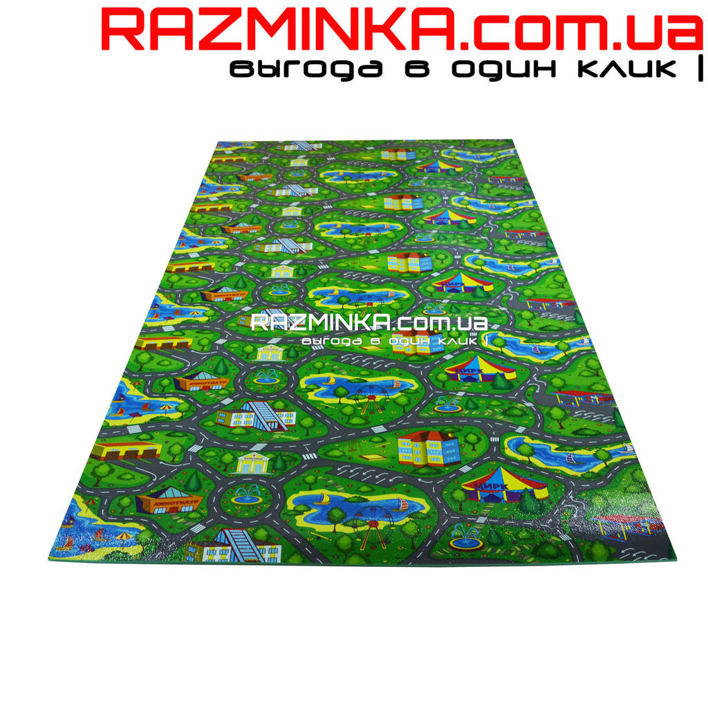 Детский игровой коврик Городок 200х110см, толщина 8мм