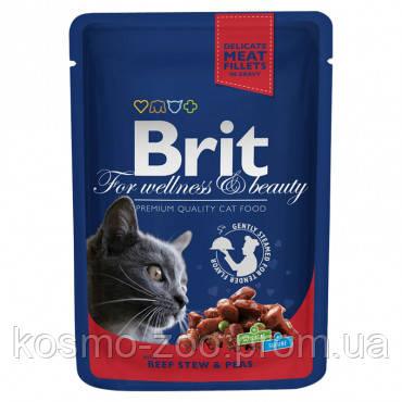 Влажный корм Брит Премиум (Brit Premium), Рагу из говядины с горошком для взрослых кошек, 100 гр. 24 шт./уп