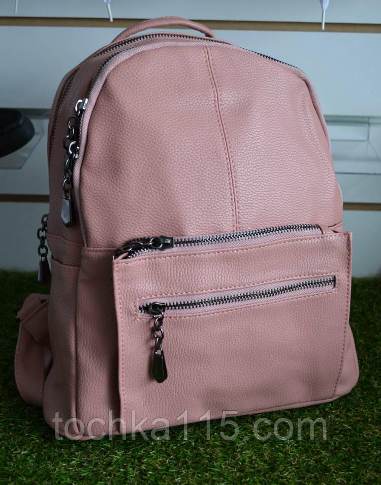 Женские кожаный рюкзак розовый