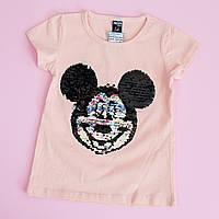 Детская футболка девочке пайетки перевертыши размер 1-2 года