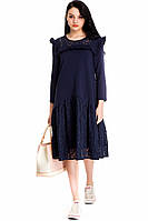 Синее платье с гипюром Rosa Shock L0103