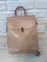 """Женский кожаный рюкзак-сумка(трансформер) """"Кристи Beige"""", фото 1"""