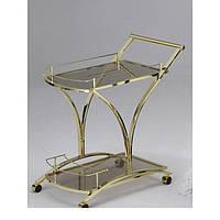 Столик сервировочный стекло/золото