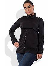 Сорочка в стилі фрак чорна розміри від XL 3100