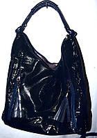 Женская синяя сумка из лазерной кожи на один отдел 34*40 см, фото 1