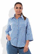 Сорочка синя в клітку розміри від XL 3084