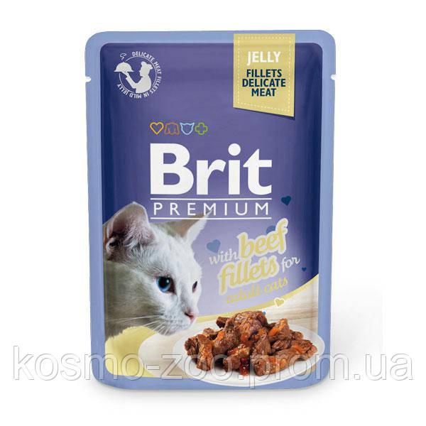 Влажный корм Брит Премиум (Brit Premium), Кусочки из филе говядины в желе для взрослых кошек, 85 гр. 24 шт./уп