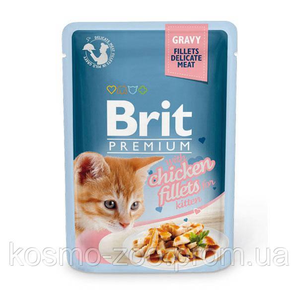 Влажный корм Брит Премиум (Brit Premium), Кусочки из куриного филе в соусе для котят, 85 гр, 24шт\уп