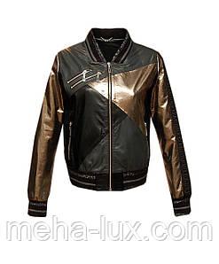 Куртка бомбер женская кожаная Sacha Pacha черно-золотая