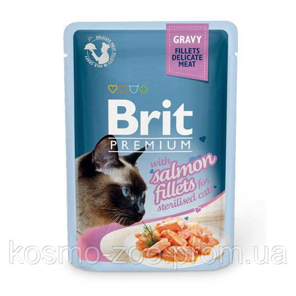 Влажный корм Брит Премиум (Brit Premium), Кусочки из филе лосося в соусе для стерилизованных кошек, 85 гр