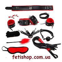 Бондажный набор БДСМ черного цвета с красной отделкой
