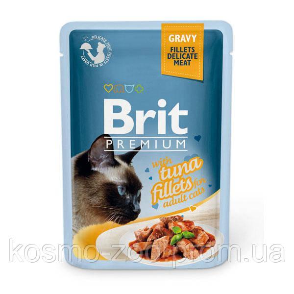 Влажный корм Брит Премиум (Brit Premium), Кусочки из филе тунца в соусе для кошек, 85 гр, 24 шт\уп
