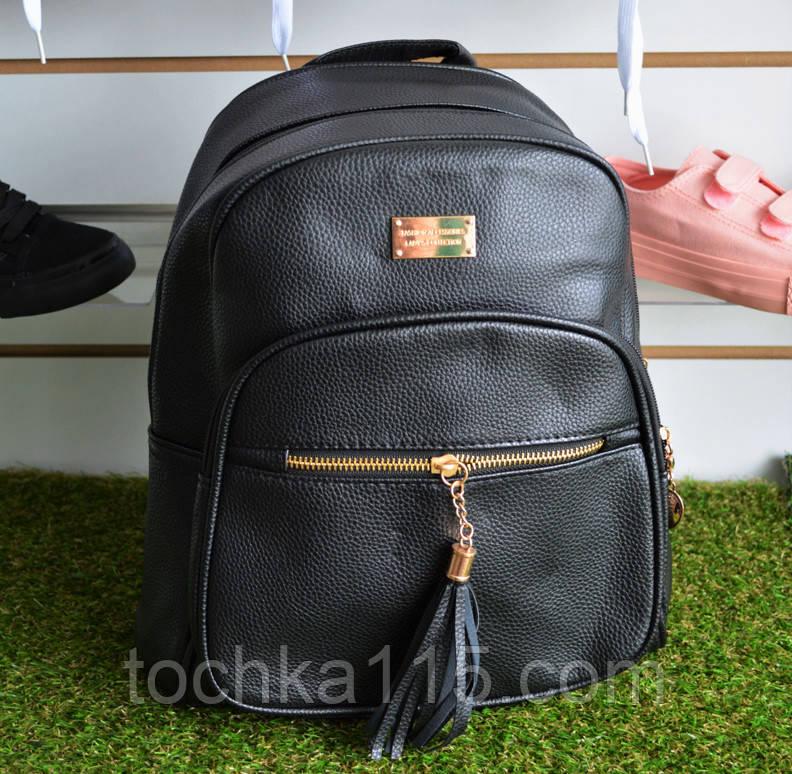 Рюкзак женский кожаный черный , фото 1