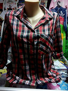 Рубашка женская клетка дл/короткий рукав р.44 - 48
