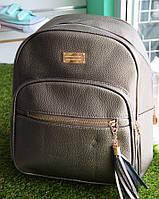 Женский кожаный золотой рюкзак , фото 1