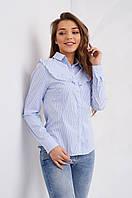 Хлопковая блуза в полоску и воланами