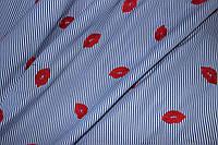 Ткань рубашка полоса с вышивкой, поцелуй  Тренд сезона №4 80%хб,20%ПЭ
