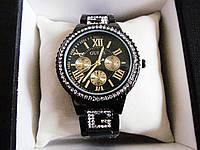Часы женские черный цвет украшенные камнями с черным циферблатом