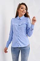 Женская весенняя блуза в синюю полоску