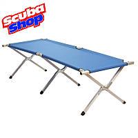 Туристическая складная раскладушка Folding Camping Bed (синяя ткань)