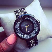 Женские часы Сваровски черный+черный циферблат