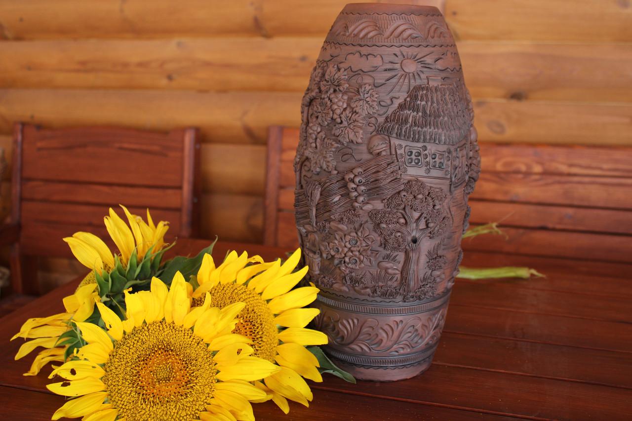 Ваза глиняна оздобленя ліпниною вручну