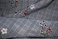 Ткань клетка костюмная вышивка №4 клетка
