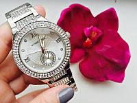 Часы женские МК стальной цвет украшенные камнями циферблатом серебро