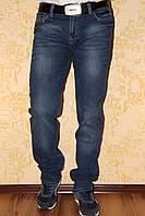 Модные джинсы мужские классические LEFORS Лефорс демисезонные синие с потёртостью легко приуженные.
