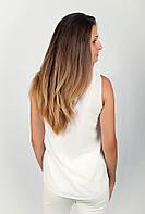 Блузка женская без рукава №196F001 (Бело-красный)