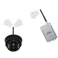 Комплект из беспроводной купольной камеры 700 TVL на 2.4 Ghz + приёмник видеосигнала  (модель NCDOTIR 21W kit), фото 1