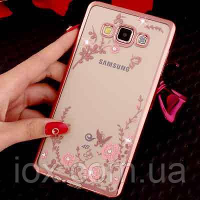 Силиконовый чехол с блестящими стразами для Samsung Galaxy A3