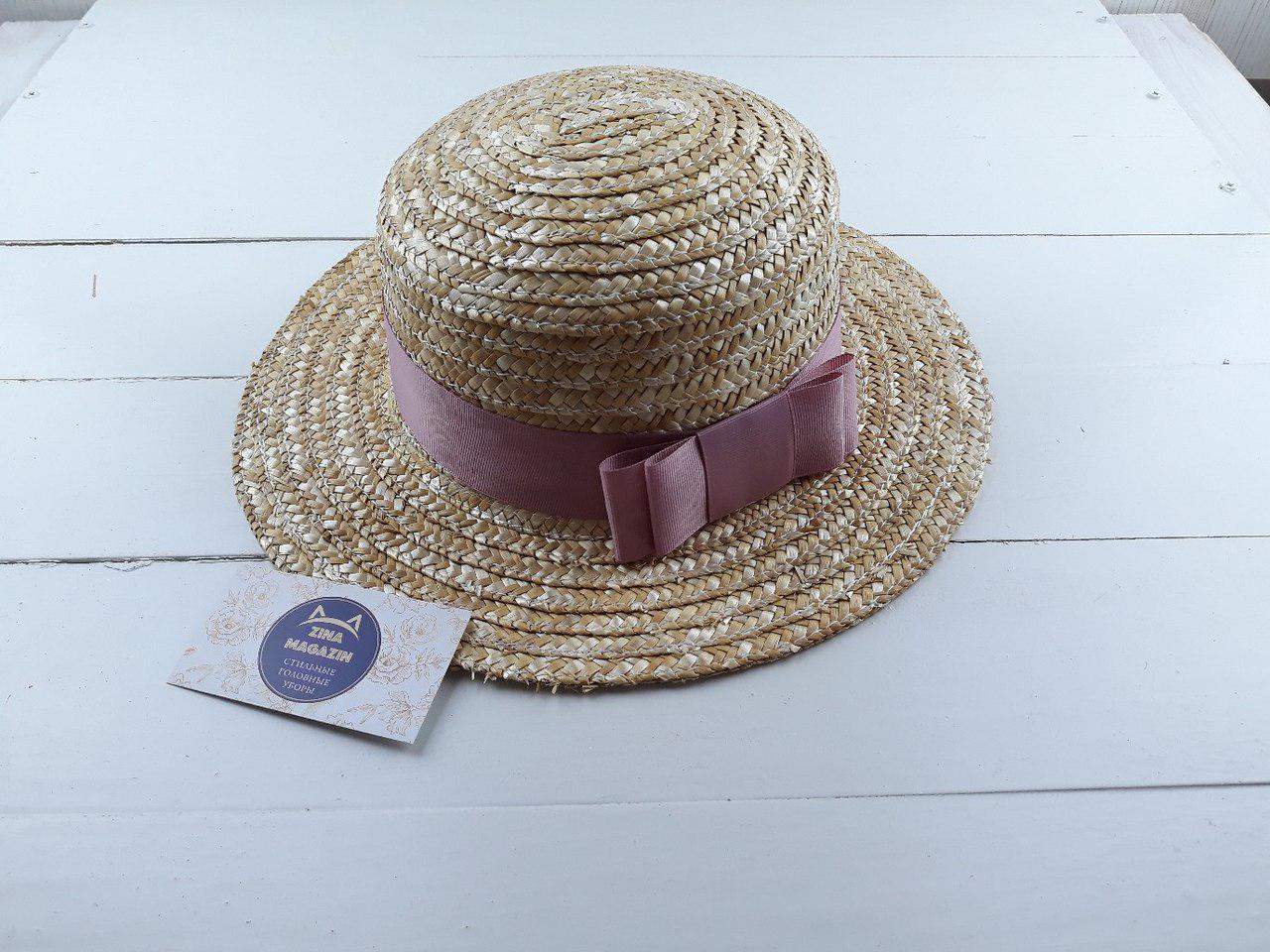 Шляпка с пудровым бантиком