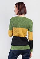 Свитер в крупную полоску женский 384F003 (Зелено-горчичный)