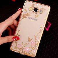 Золотистый силиконовый чехол с камушками Сваровски для Samsung Galaxy A5, фото 1