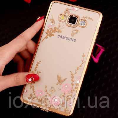 Золотистый силиконовый чехол с камушками Сваровски для Samsung Galaxy A5