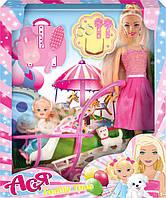 """Набор с куклой Асей  """"Семейный досуг"""" 28см и маленькой куклой 11см в коляске в кор. 26*32,5*6см. //(35087)"""