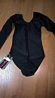 Распродажа!Купальник гимнастический с длинным рукавом детский (Бифлекс,черный, р-р 34-36)