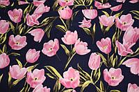 Ткань костюмка Гуччи дизайн синий фон (летняя, легкая, мягкая), фото 1