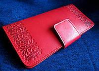 Популярный женский кошелёк узор Вышиванка 100% кожа, фото 1