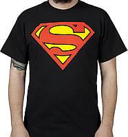 Футболка Superman черная с логотипом, унисекс (мужская, женская, детская)
