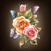 Розы с бабочками (полная выкладка) 20*16 см