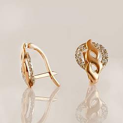 Золоті сережки з фіанітами. СП20494