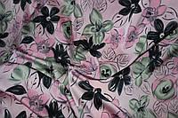 Ткань шелк армани нежно розовый с цветами, фото 1