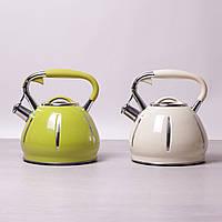 Чайник Kamille 3 л из нержавеющей стали с металлическим свистком для всех видов плит